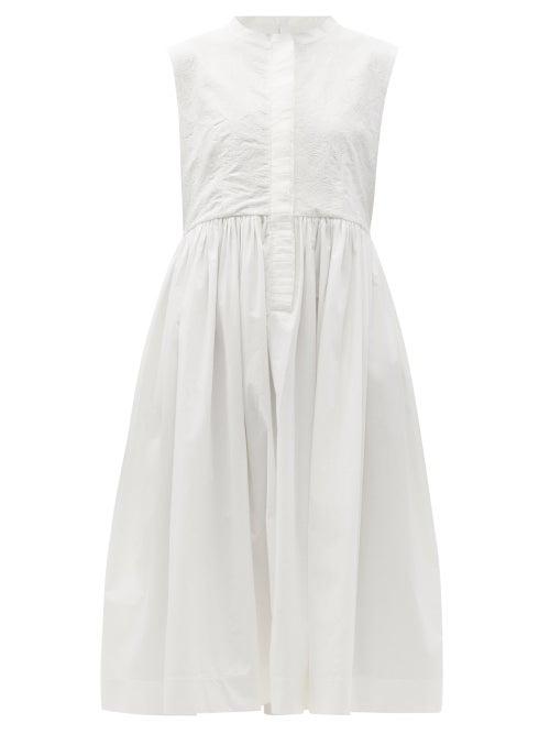 Merlette - Maya Embroidered Cotton-poplin Midi Shirt Dress - Womens - White