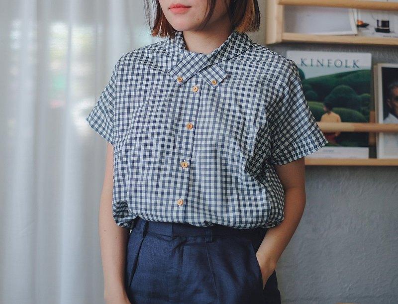 棉質X領襯衫:海軍色