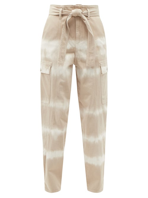 Stella Mccartney - Bamboo Safari Tie-dye Denim Trousers - Womens - Brown Multi