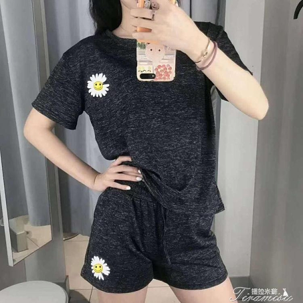 運動套裝 夏季小雛菊速干衣套裝瑜伽服跑步運動薄款透氣T恤短褲兩件套女 快速出貨