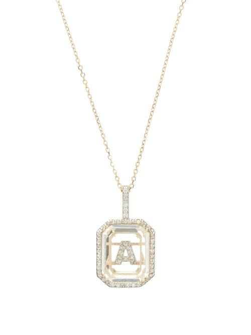 Mateo - Initials Diamond, Quartz & 14kt Gold Necklace A-m - Womens - Crystal