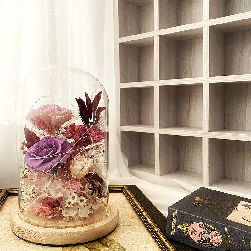 母親節/紀念/客製化/永生花/紫玫瑰/紅玫瑰/康乃馨/玻璃盅