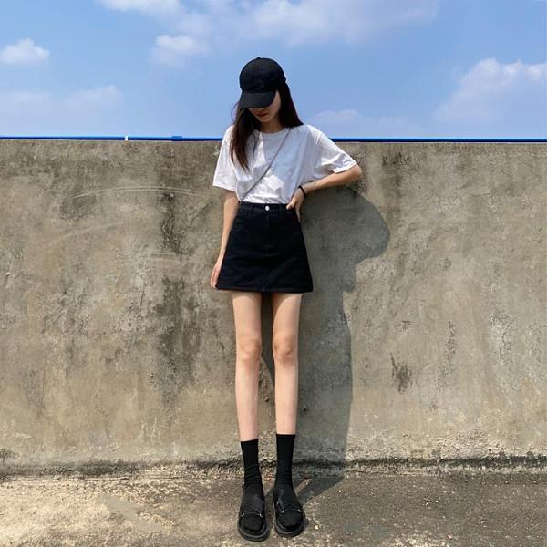 褲裙 黑色牛仔短裙女2021年夏季新款高腰韓版包臀裙帶內襯a字半身裙褲 【618 大促】