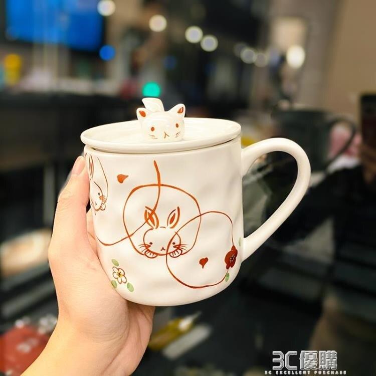 日系馬克杯子帶蓋勺好看日式和風可愛貓咪手繪陶瓷水杯早餐牛奶杯 芭蕾朵朵