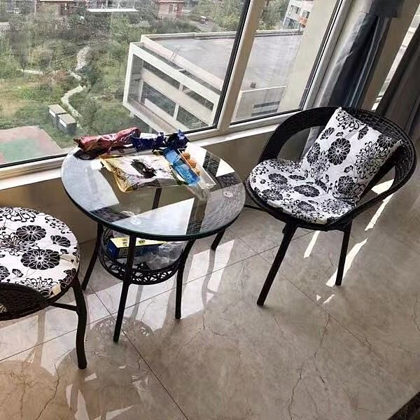 藤椅 陽台桌椅藤椅三件套組合簡約現代休閒戶外室外庭院小茶幾單人椅子