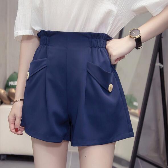 短褲 闊腿褲 寬鬆 百搭 中大尺碼L-4XL新款鬆緊腰闊腿短褲子R26-X-021.胖胖美依