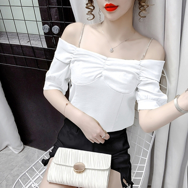 辣妹短T 襯衫上衣~法式氣質吊帶時尚一字領襯衣百搭洋氣短袖上衣女T312D日韓屋
