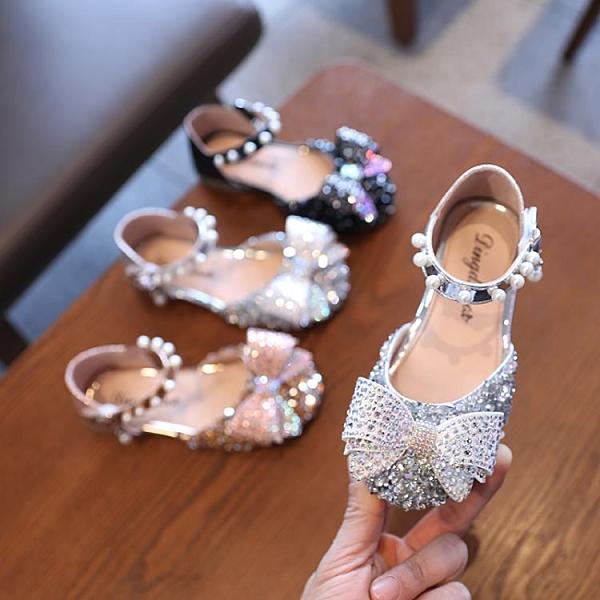 女童單鞋公主鞋2021春夏兒童軟底包頭半涼鞋小女孩蝴蝶結寶寶皮鞋 幸福第一站