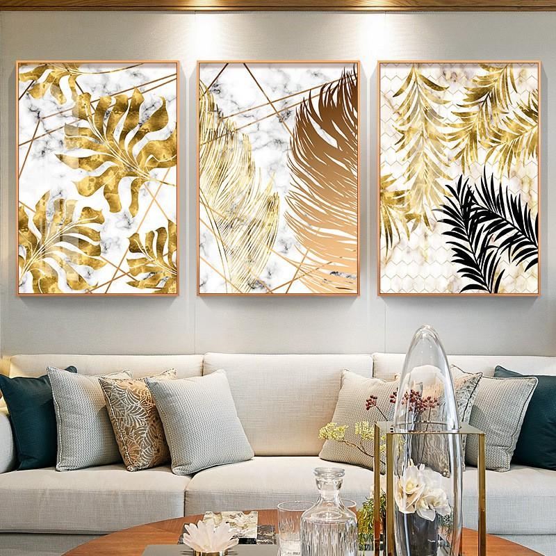 【五象設計】新款北歐ins輕奢客廳臥室裝飾畫金色葉子組合羽毛掛畫抽象掛畫芯