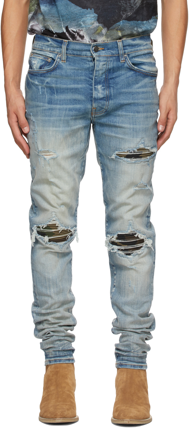 AMIRI 蓝色 MX1 Camo 牛仔裤