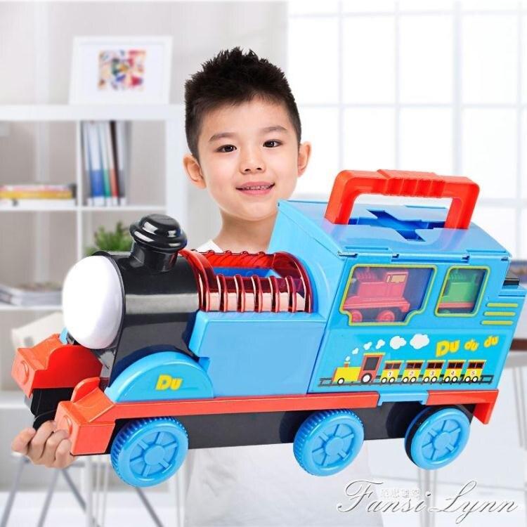 兒童聲光電動收納車小火車軌道套裝益智男女孩玩具合金汽車3-6歲