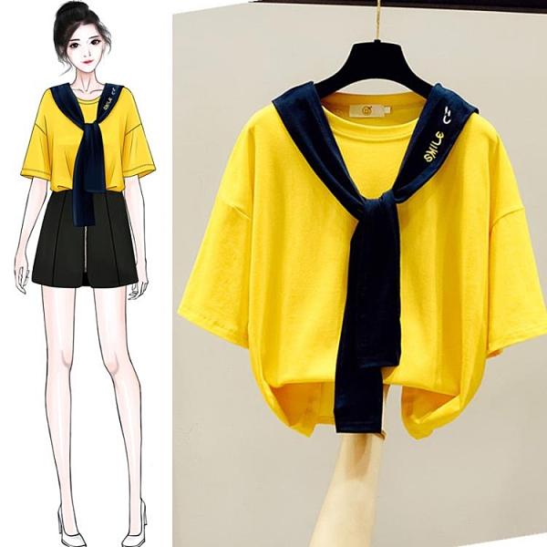 夏裝2021年新款春款黃短袖T恤女裝短款海軍領上衣半袖設計感小眾 8號店
