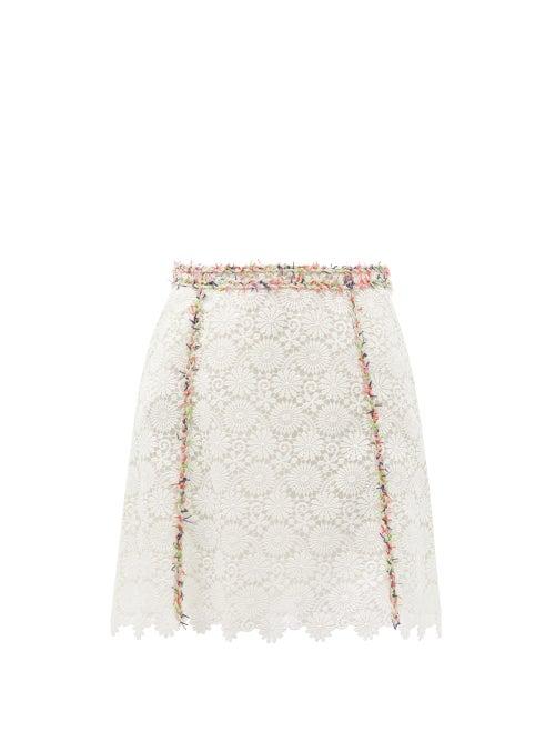 Giambattista Valli - Fringed Macramé-lace Mini Skirt - Womens - White