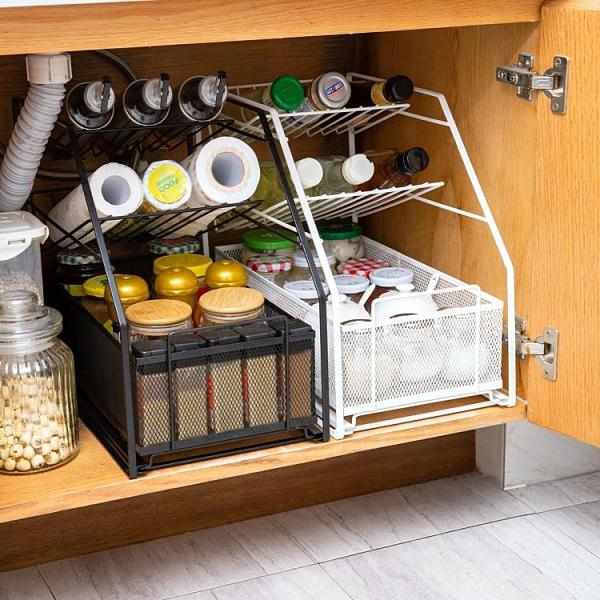 下水槽置物架 廚房下水槽置物架推拉抽屜式調料架子伸縮分層衛生間用品收納神器【快速出貨】