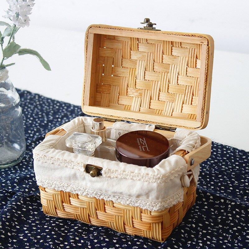杉木片提籃ins藤編帶布收納伴手禮拍攝道具月餅食品禮盒