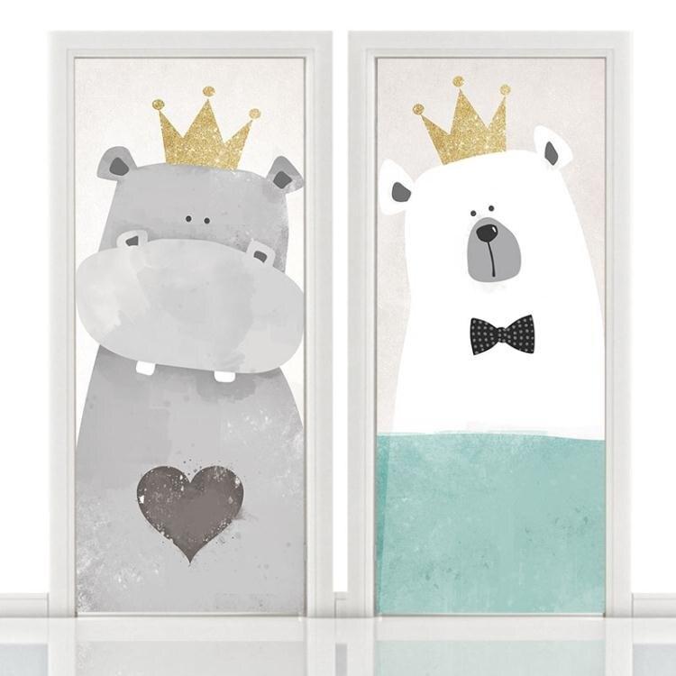 門創意貼紙卡通動漫北歐木門翻新自黏防水裝飾畫整張衣櫃玻璃膜 雙12全館免運