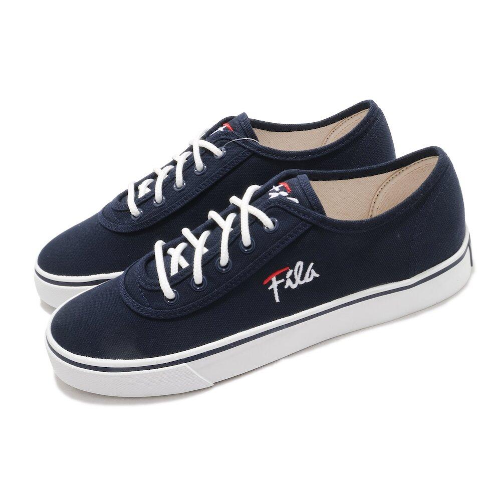 FILA 休閒鞋 C917U 帆布鞋 女鞋 斐樂 基本款 穿搭推薦 百搭 藍 白 [5C917U311]