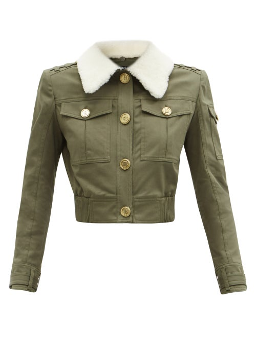 Balmain - Shearling-collar Cotton-blend Canvas Jacket - Womens - Khaki
