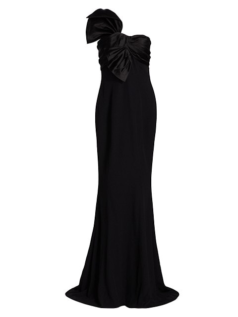 One-Shoulder Bow Crepe Gown