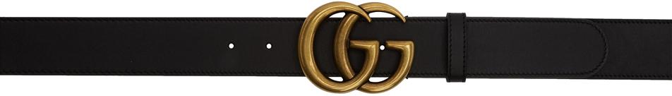 Gucci 黑色 GG 皮革腰带