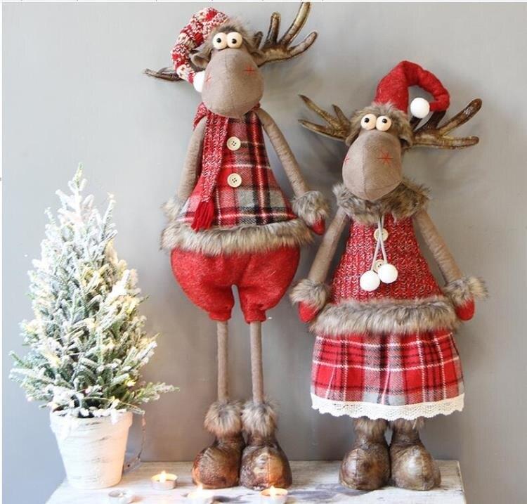 聖誕節可愛創意麋鹿雪人老人伸縮前臺公仔擺件聖誕樹裝飾品
