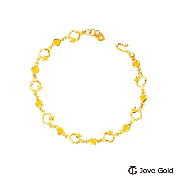 jovegold漾金飾心動蘋率黃金手鍊-雙面設計