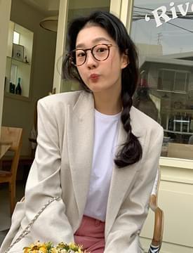 韓國空運 - Round slim horn rimmed glasses 眼鏡