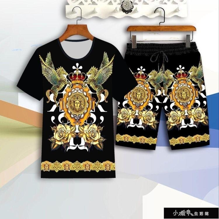 套裝男短袖T恤夏季潮牌2020新款寬鬆潮流衣服一套【百淘百樂】