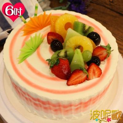 母親節預購 波呢歐 酸甜草莓雙餡布丁夾心水果鮮奶蛋糕(6吋)