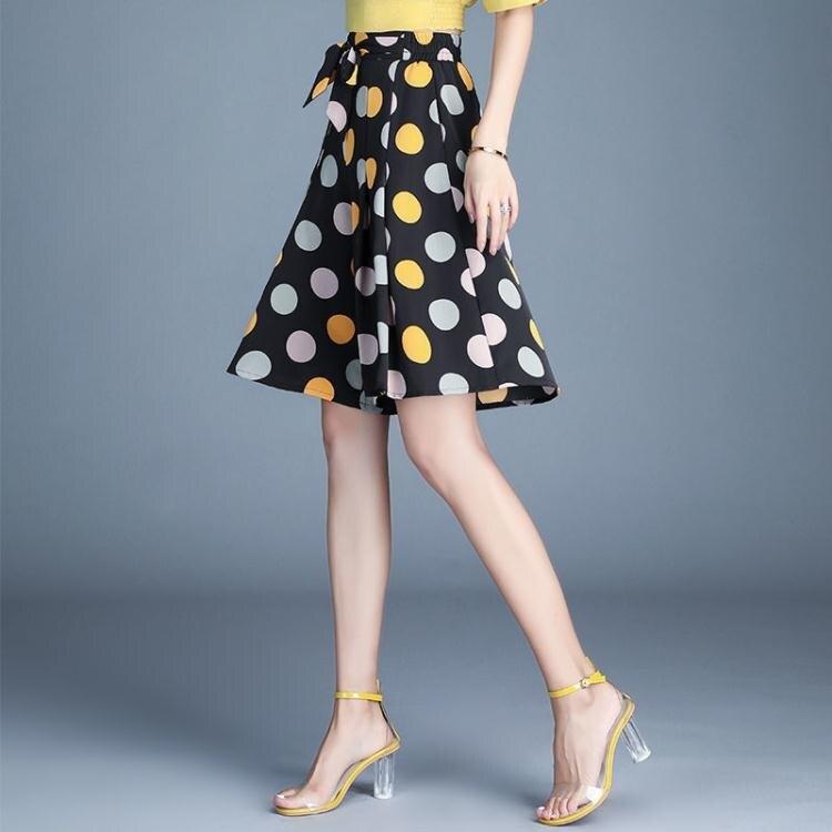 大碼寬鬆 裙褲女夏季休閒新款高腰顯瘦a字短裙褲垂【百淘百樂】