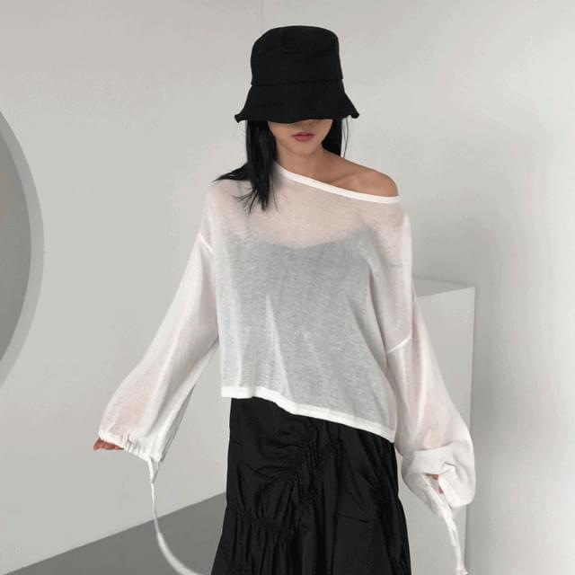 韓國空運 - Split Gauze Sleeve (White) 長袖上衣