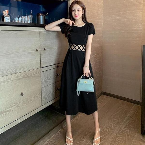 洋裝 連身裙 圓領 S-2XL新款夏長款過膝收腰性感小黑裙高腰氣質顯瘦長裙G653B-9807.胖胖唯依