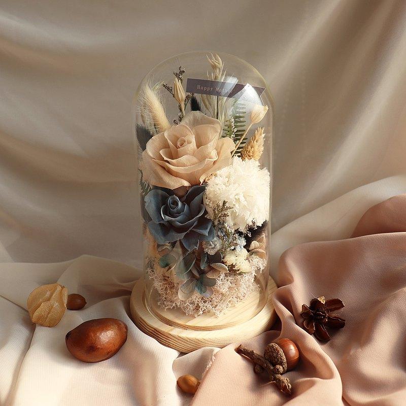 永生花中玻璃罩  玻璃盅罩 母親節禮物 永生花 客製化 康乃馨
