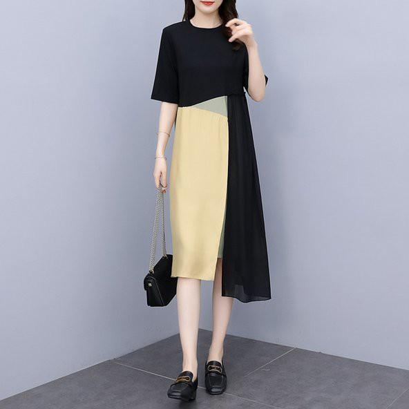 長版衣 洋裝 連身裙L-5XL中大尺碼 拼接裙洋氣顯瘦拼色連衣裙5F013.892胖胖美依