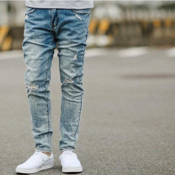 淺藍塊狀刷色小抓破小直筒牛仔褲(SS-G8253) NB0113J 廠商直送 現貨