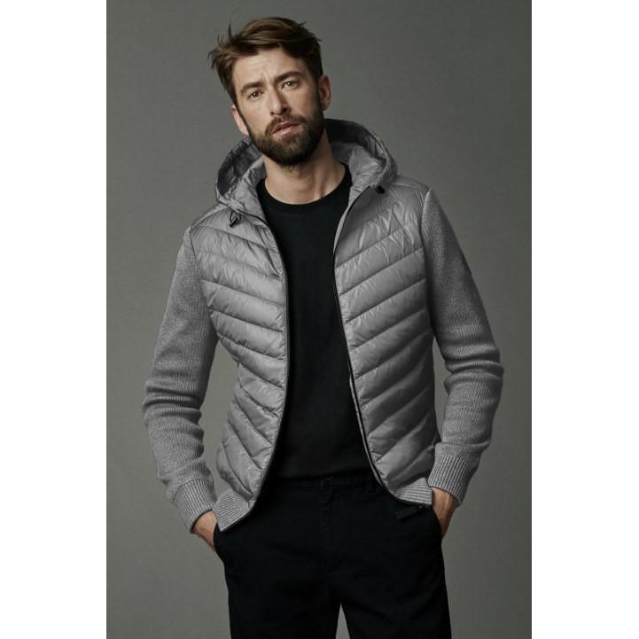 正貨 CANADA GOOSE 加拿大鵝男士HYBRIDGE 黑標絎縫針織羽絨連帽衫