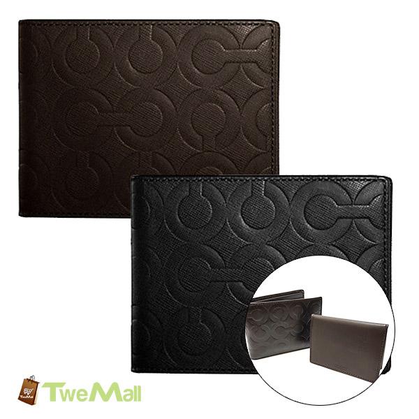 COACH防刮皮革CLOGO壓紋短夾皮夾(附卡片夾)深咖/黑