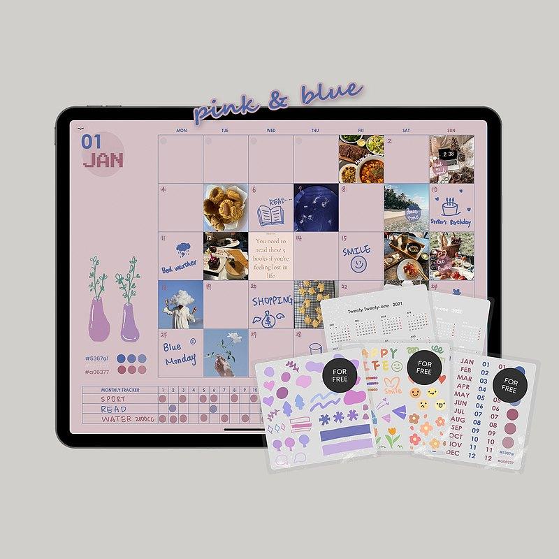 2021萬用電子手帳【寶寶粉藍】/ iPad planner / Goodnotes模板