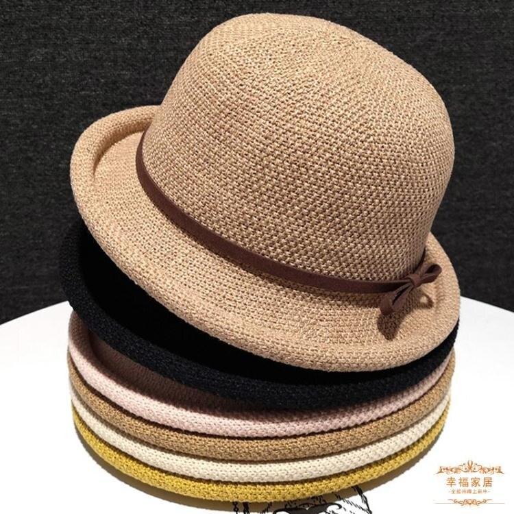 草帽 春夏帽子遮陽帽時尚草帽女小檐防曬日系百搭盆帽韓版英倫潮小禮帽