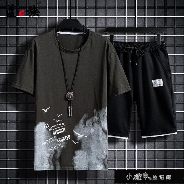 短袖T恤/套裝男短褲休閒套裝男T恤韓版印花男士兩【百淘百樂】