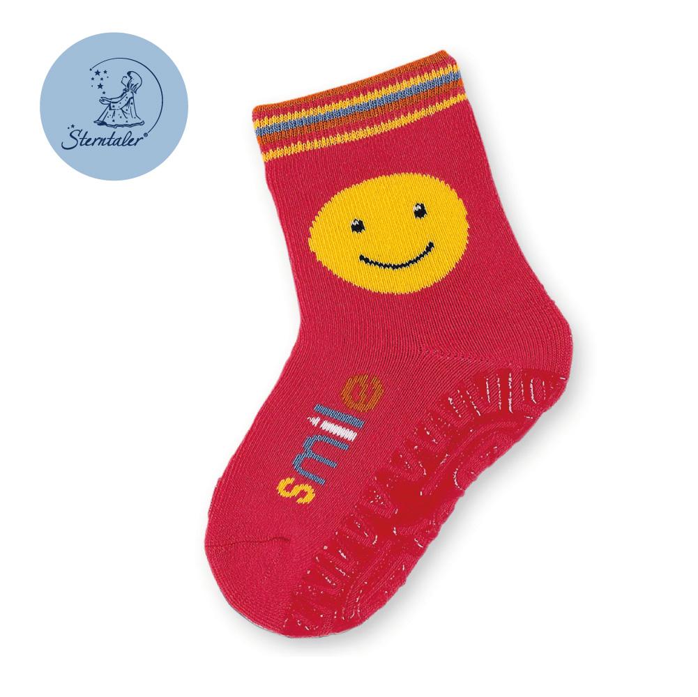 STERNTALER 笑臉防滑厚底學步襪-紅