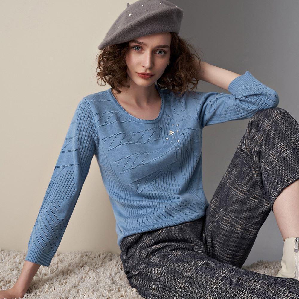 ILEY伊蕾 縷空緹花聖誕羊毛上衣(藍)095503
