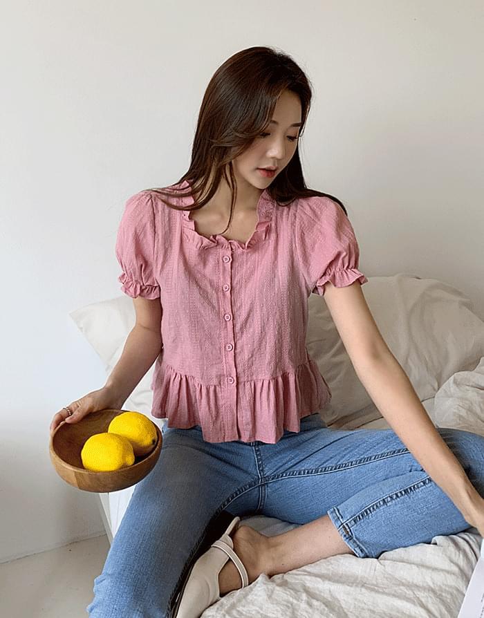 韓國空運 - Jacquard Frill Blouse 襯衫