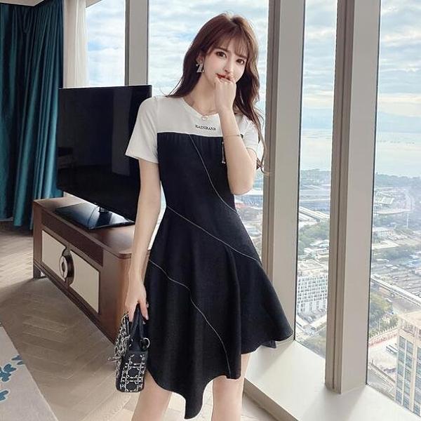 洋裝 拼接 連身裙 S-XL新款設計感小眾氣質T卹連衣裙女夏輕奢名媛不規則小黑裙子T235-5011.胖胖唯依