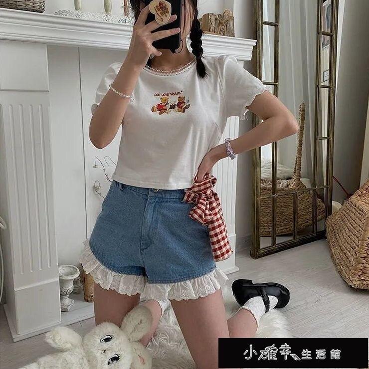 牛仔闊腿超可愛短褲女夏季高腰蕾絲花邊學生日系風【百淘百樂】