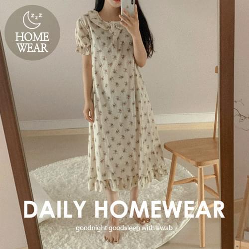 韓國空運 - 荷葉邊裝飾半排釦睡衣洋裝 及膝洋裝