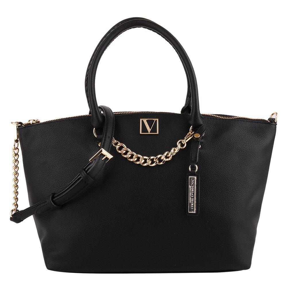 Victoria's secret  V牌吊飾皮革附鏡子手提&斜背包(黑)  (300998-21)