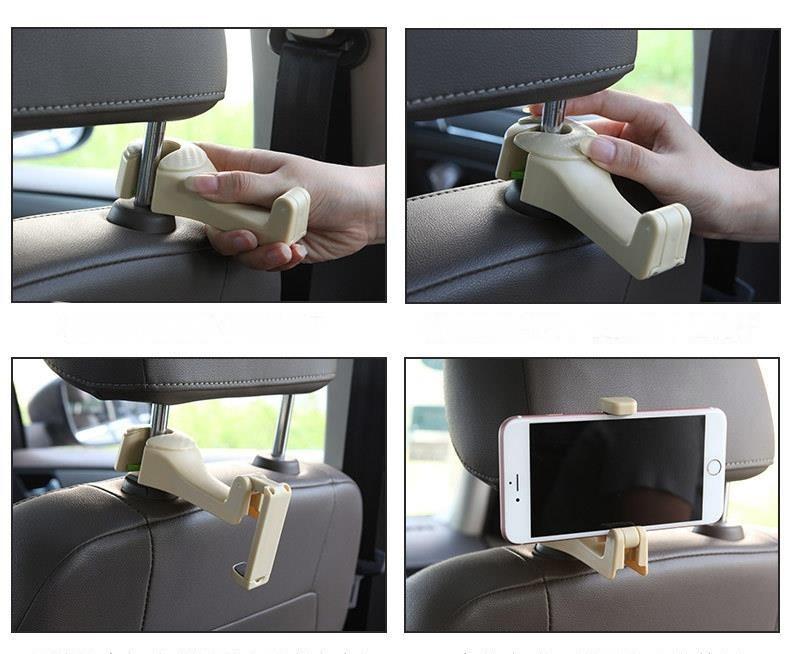 第三代汽車後座兩用掛勾 置物掛勾 掛物架 椅背掛勾 手機支架(顏色隨機)