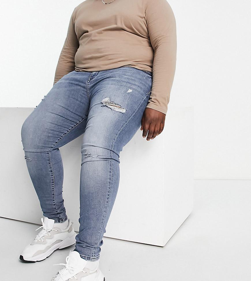 River Island big & tall slim jeans in mid wash-Blue
