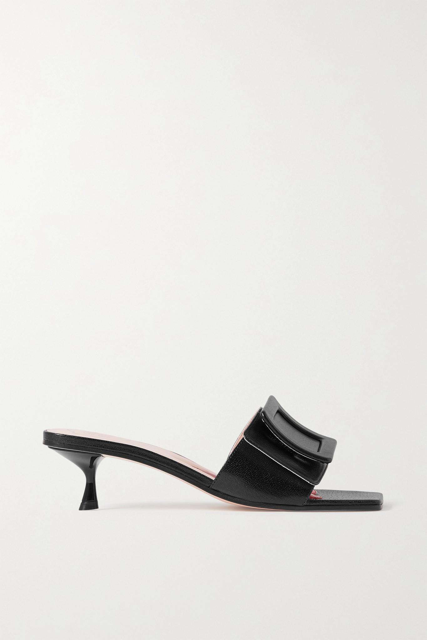 ROGER VIVIER - 搭扣细节亮面皮革穆勒鞋 - 黑色 - IT42